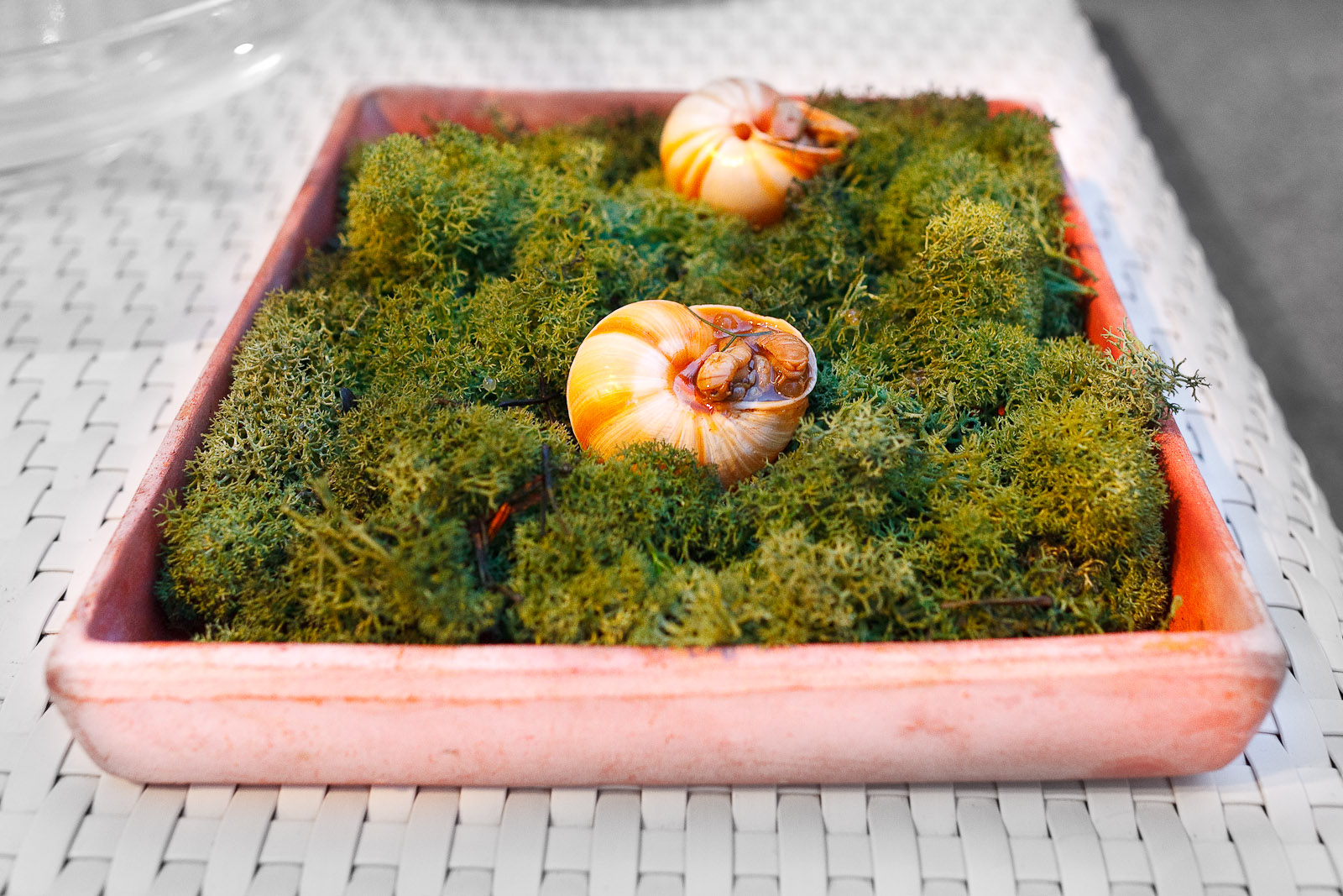 Amuse bouche: snails filled with caviar of cooking juices