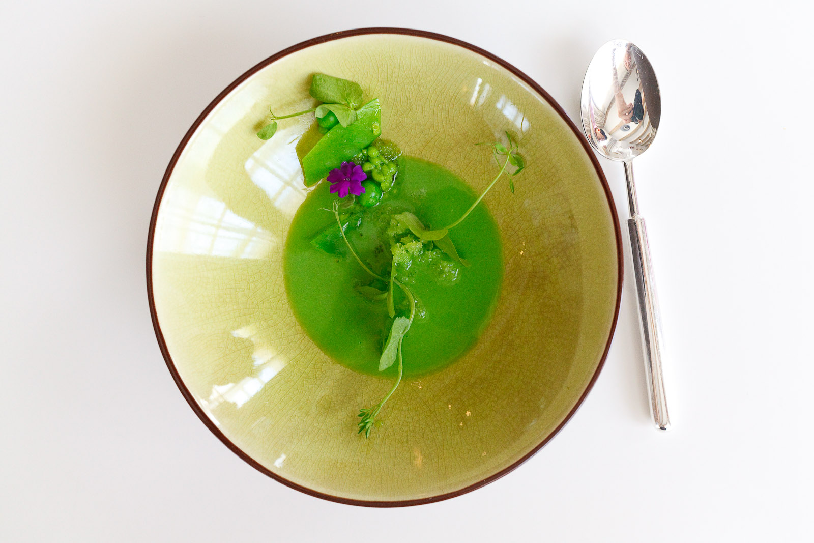 """8th Course: Peas with ice plant and wasabi """"caviar"""""""