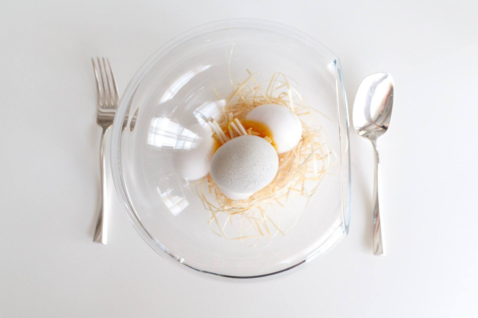 """18th Course: """"Which came first?"""" - """"Egg"""" made from cream of white asparagus filled with egg yolk and chicken stock."""