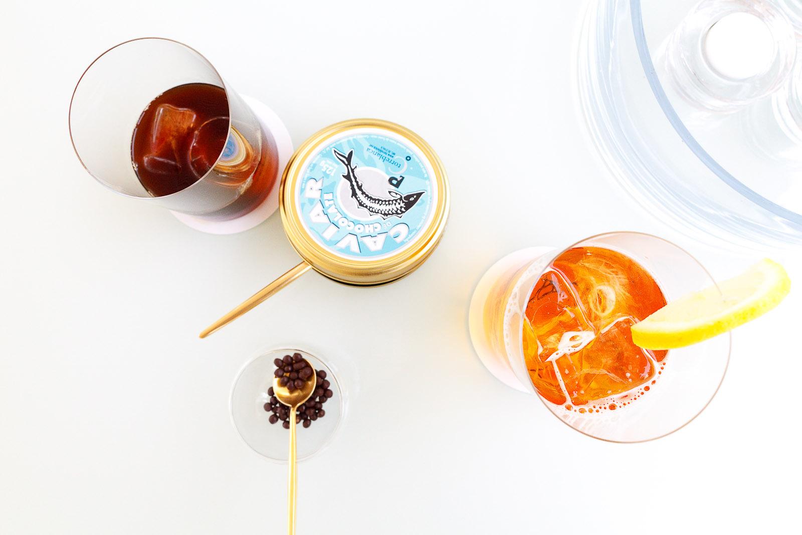 Petits Fours: Chocolate caviar, iced tea, iced coffee