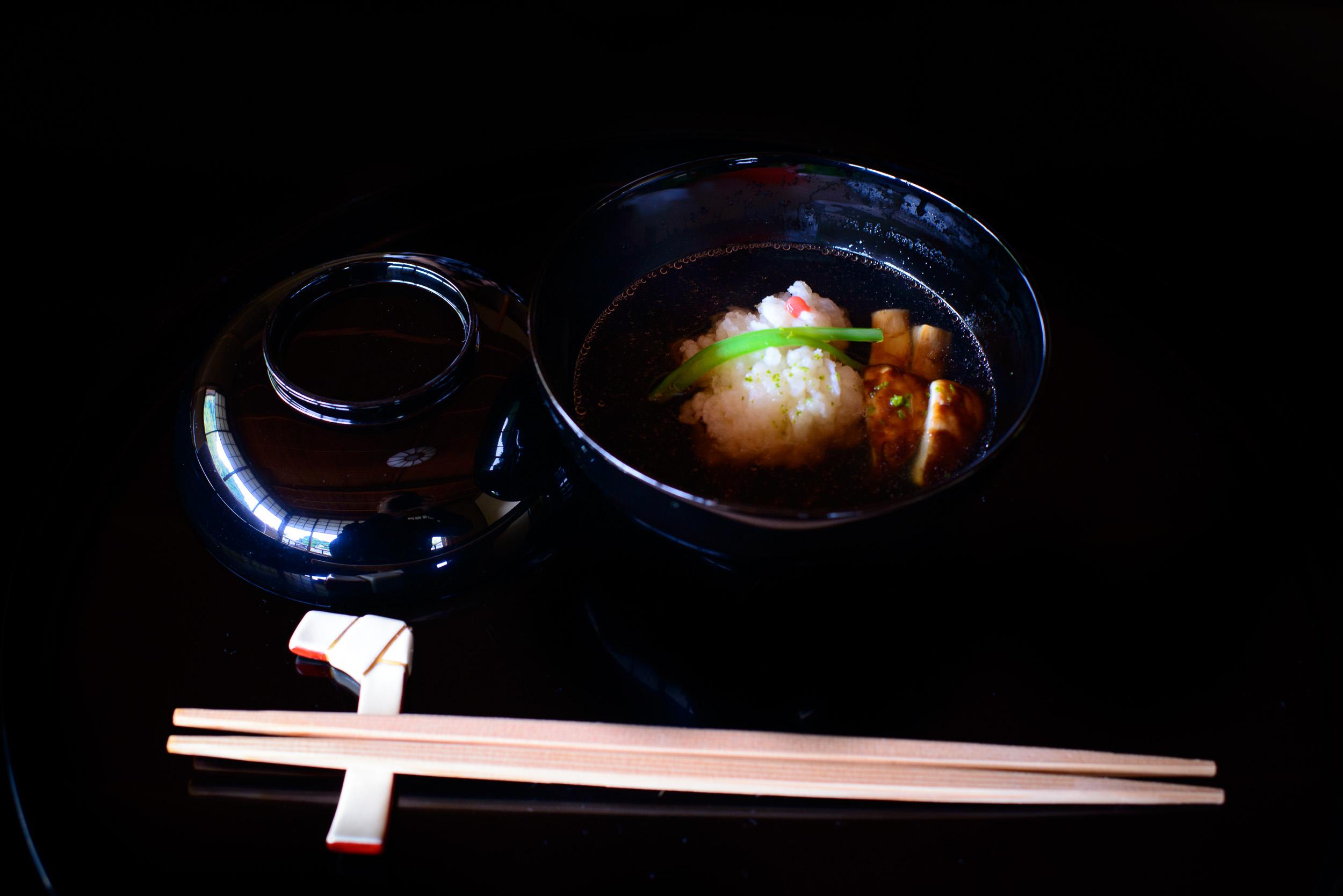 3rd Course: Clear soup of pike conger (hamo) and matsutake mushr