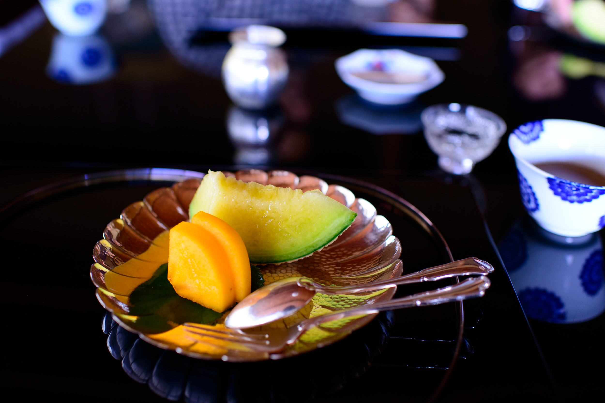 13th Course: Melon and sweet persimmon