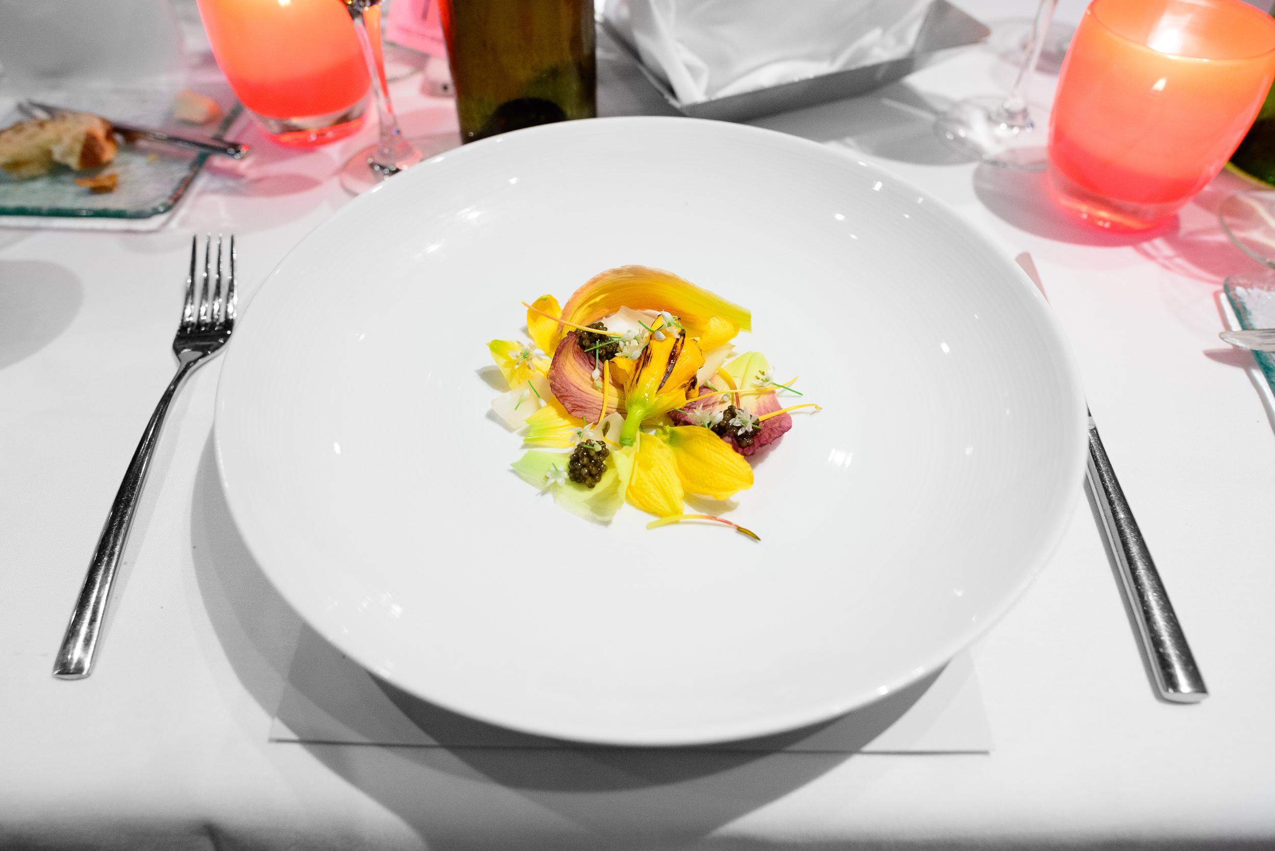 3rd Course: Day lilies, spot prawn, leek flowers, Ossetra caviar