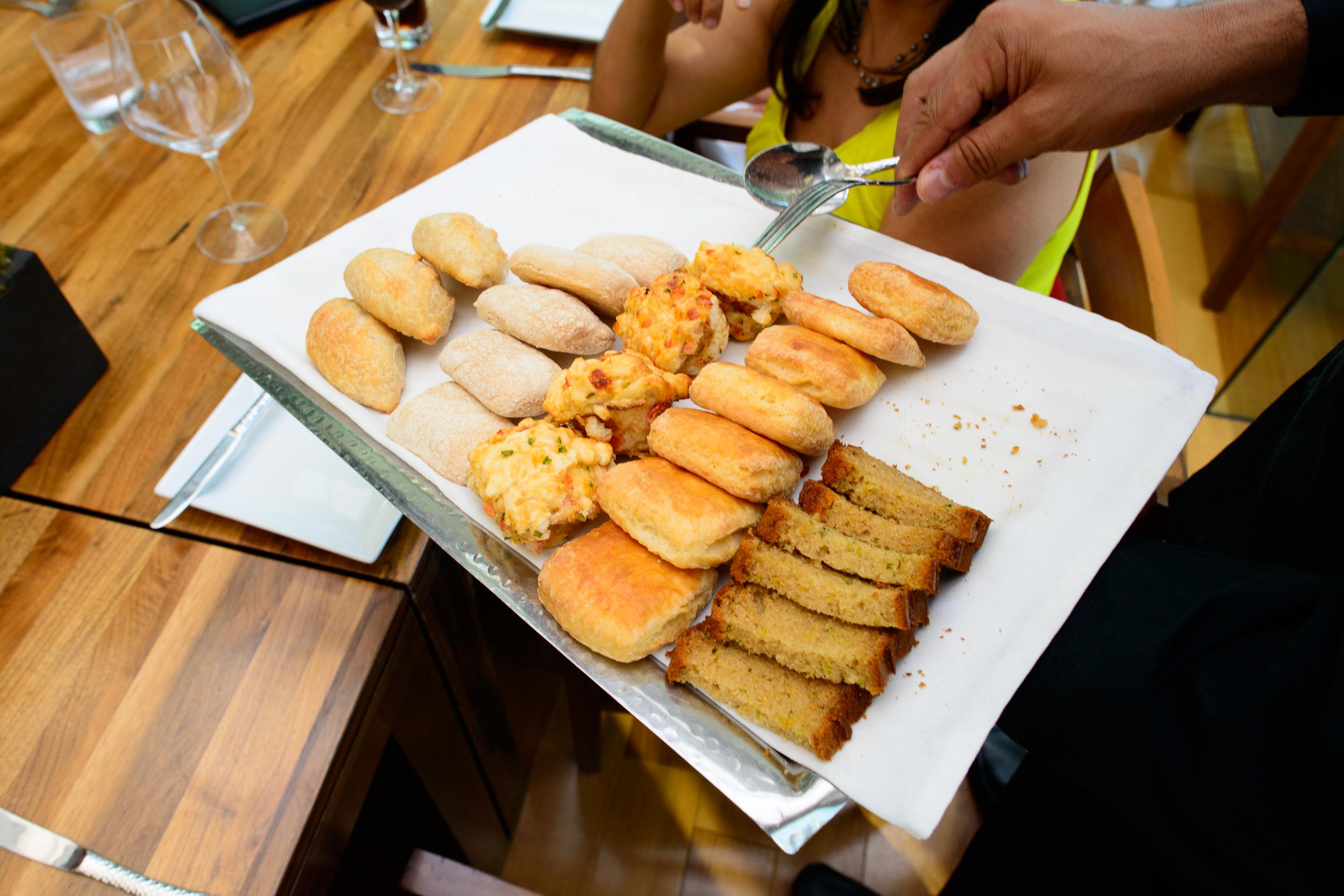 "Selection of house-made breads: sourdough, ciabatta, ""Mexican"" ("