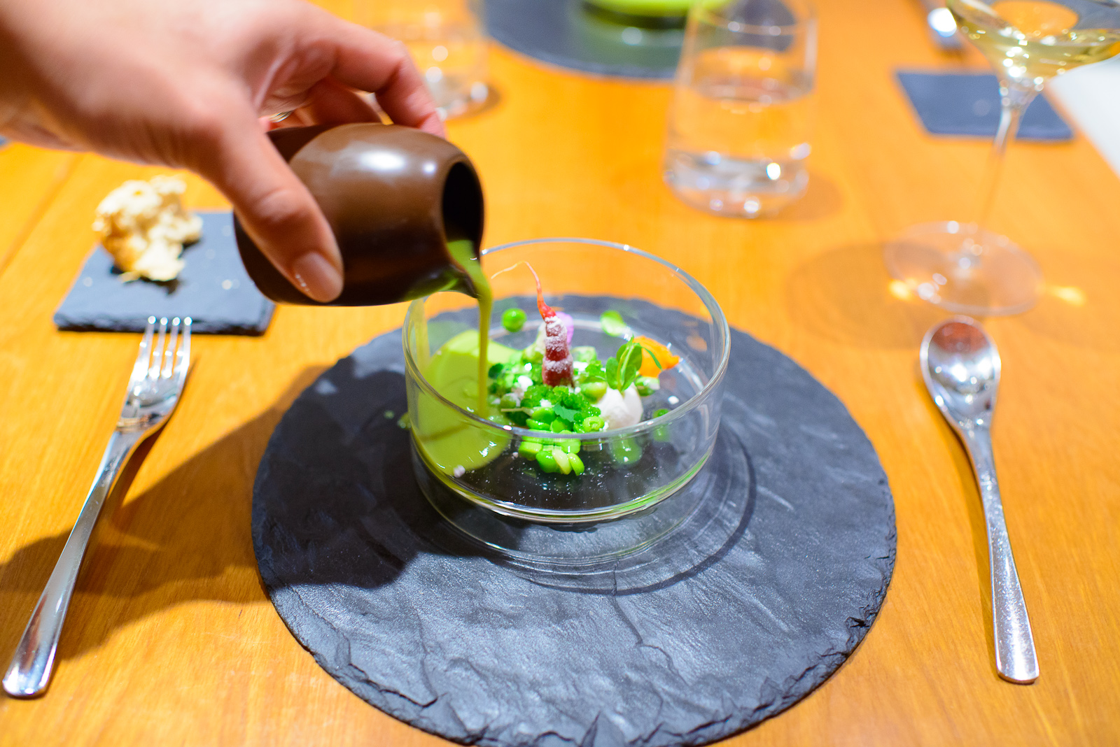 """1st Course: """"Spring's arrival"""" - Peas, coconut, and carrots with"""