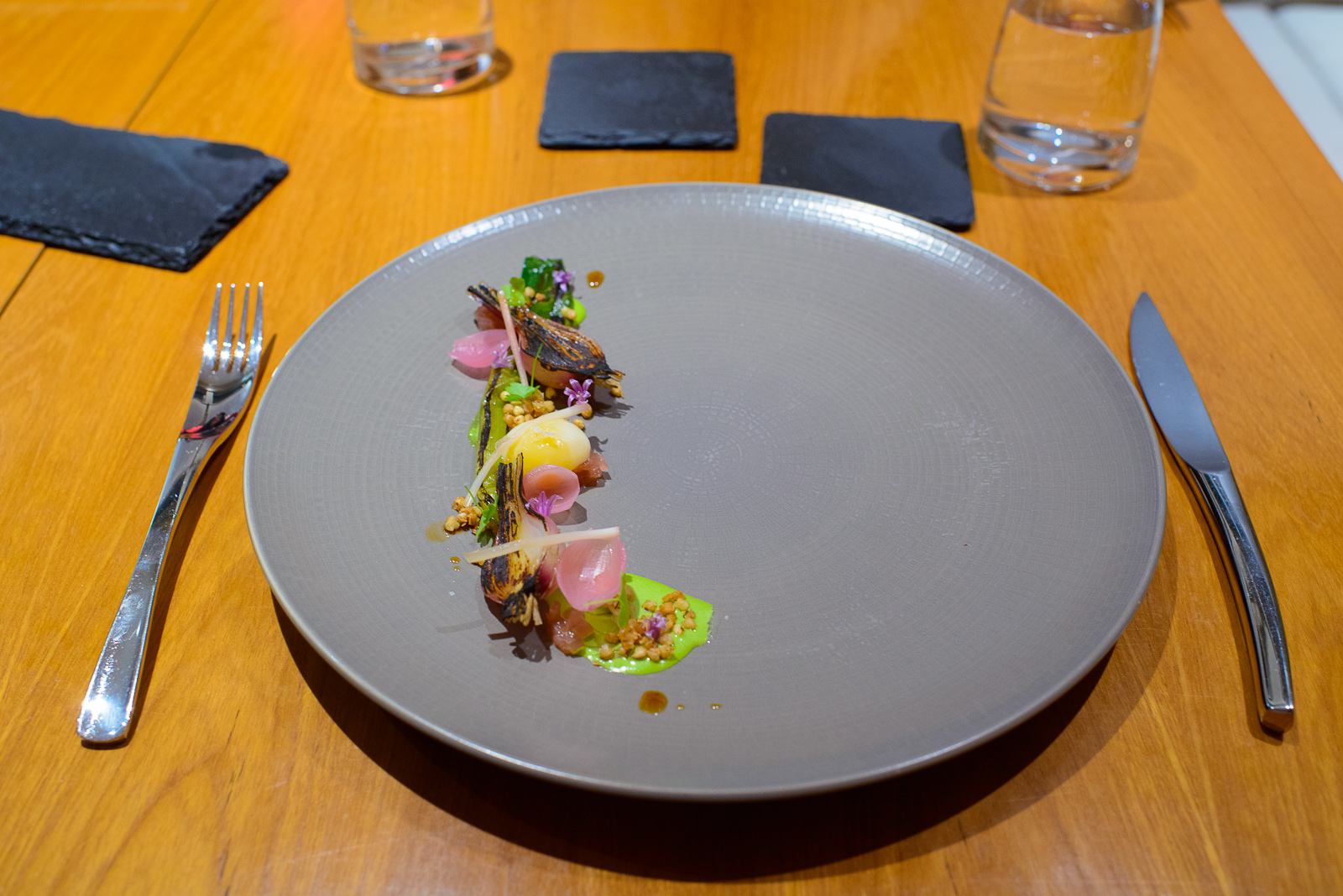"4th Course: ""Alliums et ovum"" - Ramp purée, pickled red onion,"