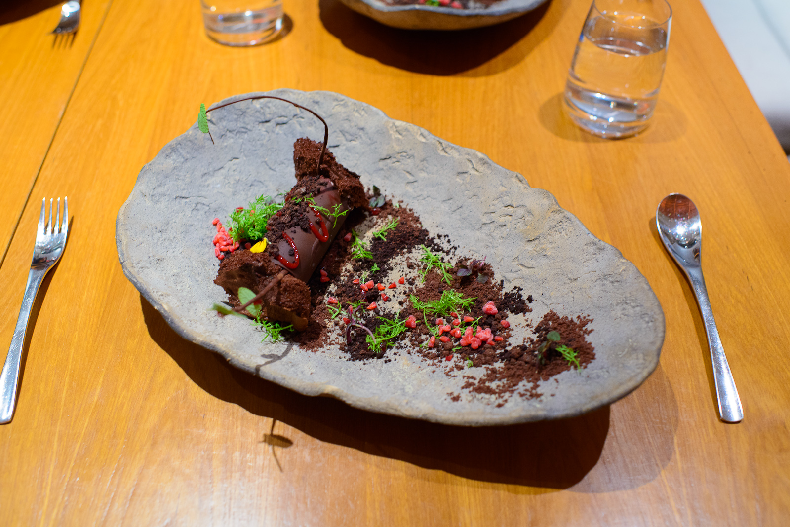 """6th Course: """"Black forest"""" - toasted almond, raspberry, various"""