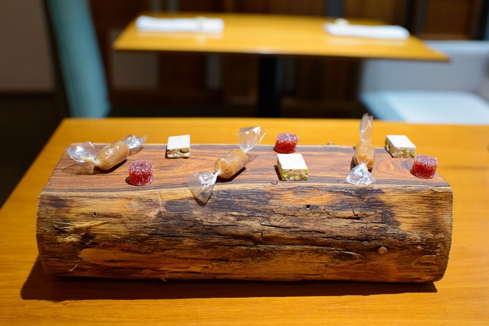 Petits fours: Strawberry ginger pâte de fruits, nougats with dr