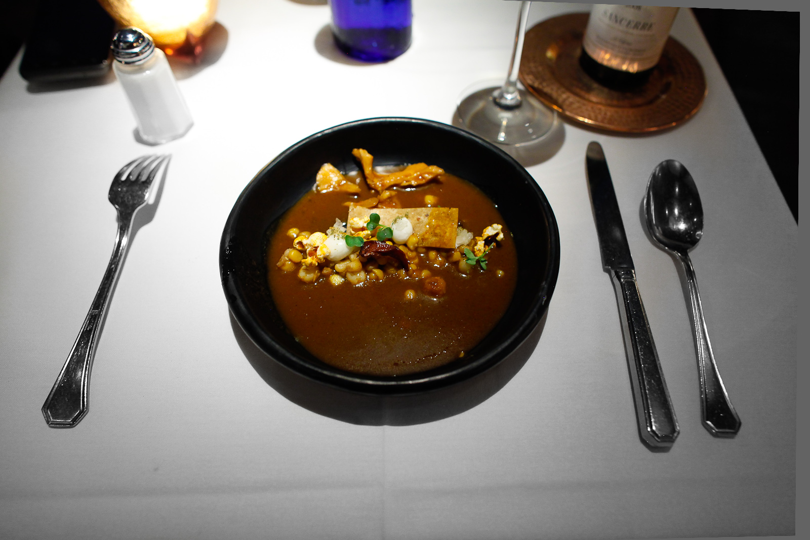 2nd Course: Pozole de Hongos, Mole Amarillo: Chanterelle and maitake mushroom pozole in Oaxacan yellow mole (guajillo chile, tomatillo, hoja santa),