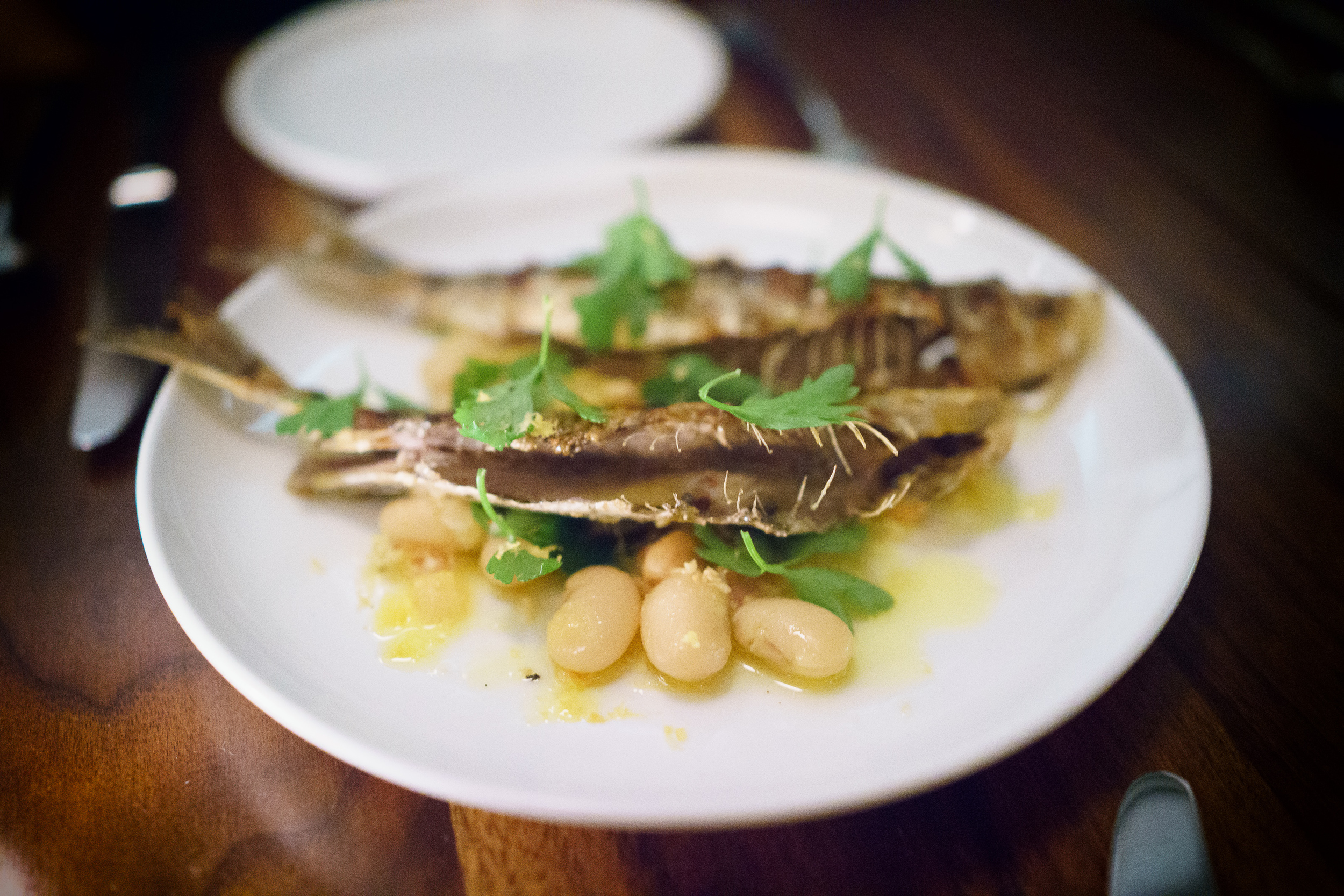 Sardines with preserved lemon, almonds, and beans ($19)