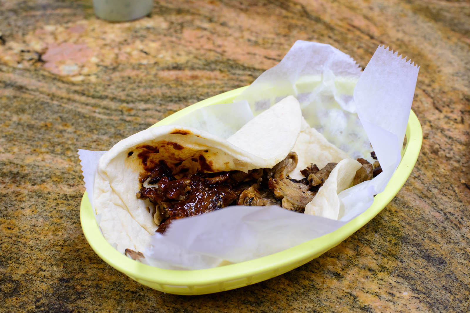 Taco arabe - spit-roasted pork and onions wrapped in a thick tor