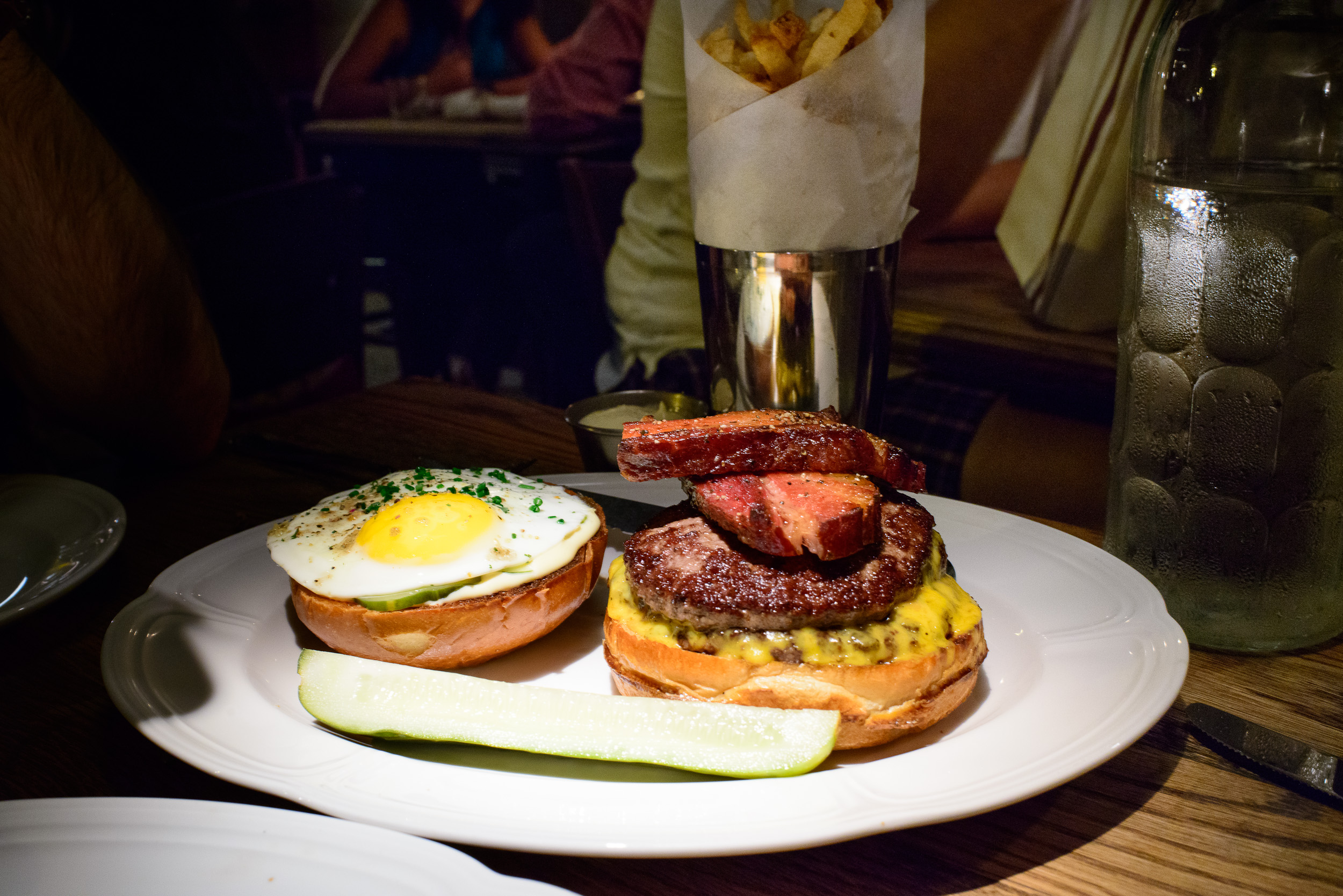 Double cheese burger with fried bacon and egg ($11.95)
