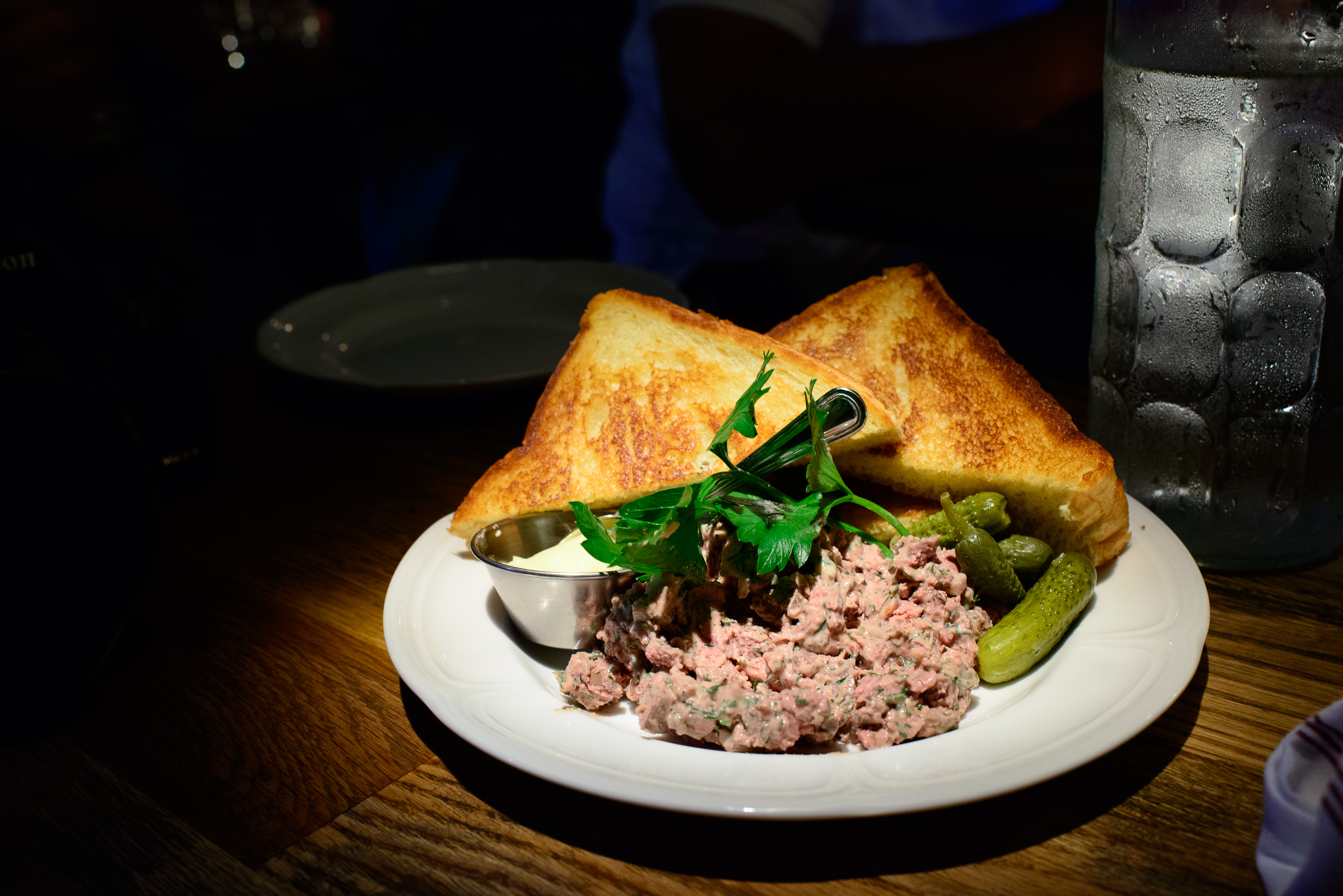 Chopped chicken liver, salted butter and toast ($10.95)