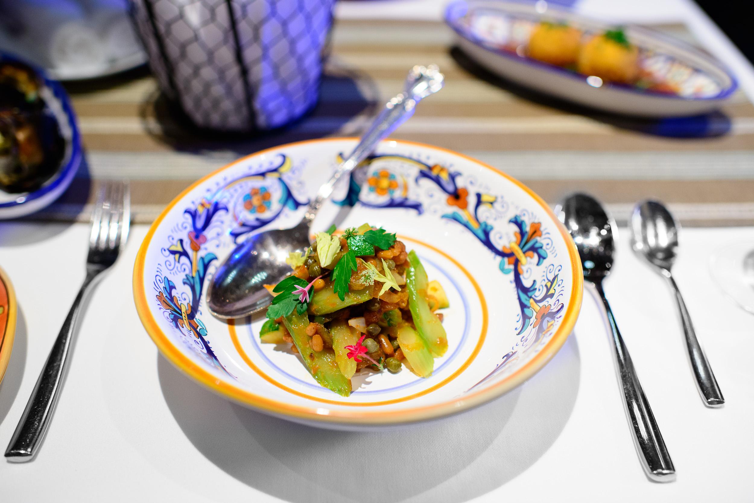 1st Course: Caponata (fried eggplant, celery seasoned with sweet