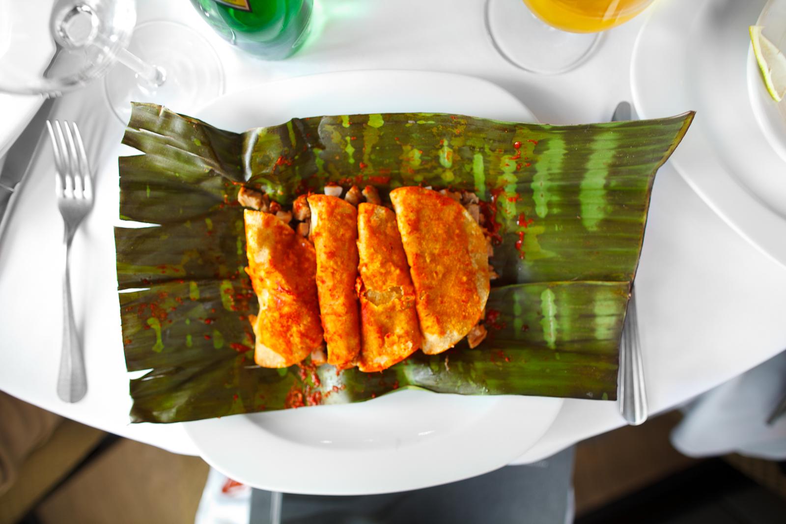 Tacos sudados de pecho de ternera, braseado por 6 horas con adobo de guajillo, (sweated tacos of lamb breast, braised for 6 hours) (115 MXP)