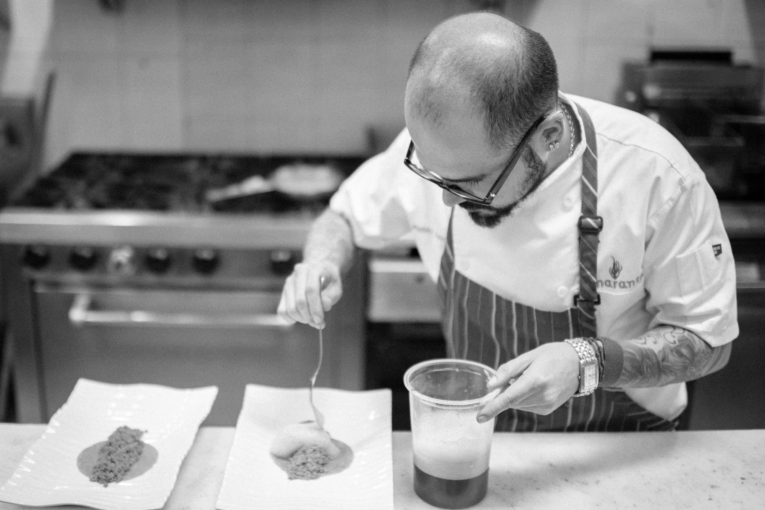 """Chef Pablo Salas plating """"caviar"""" mexiquense"""