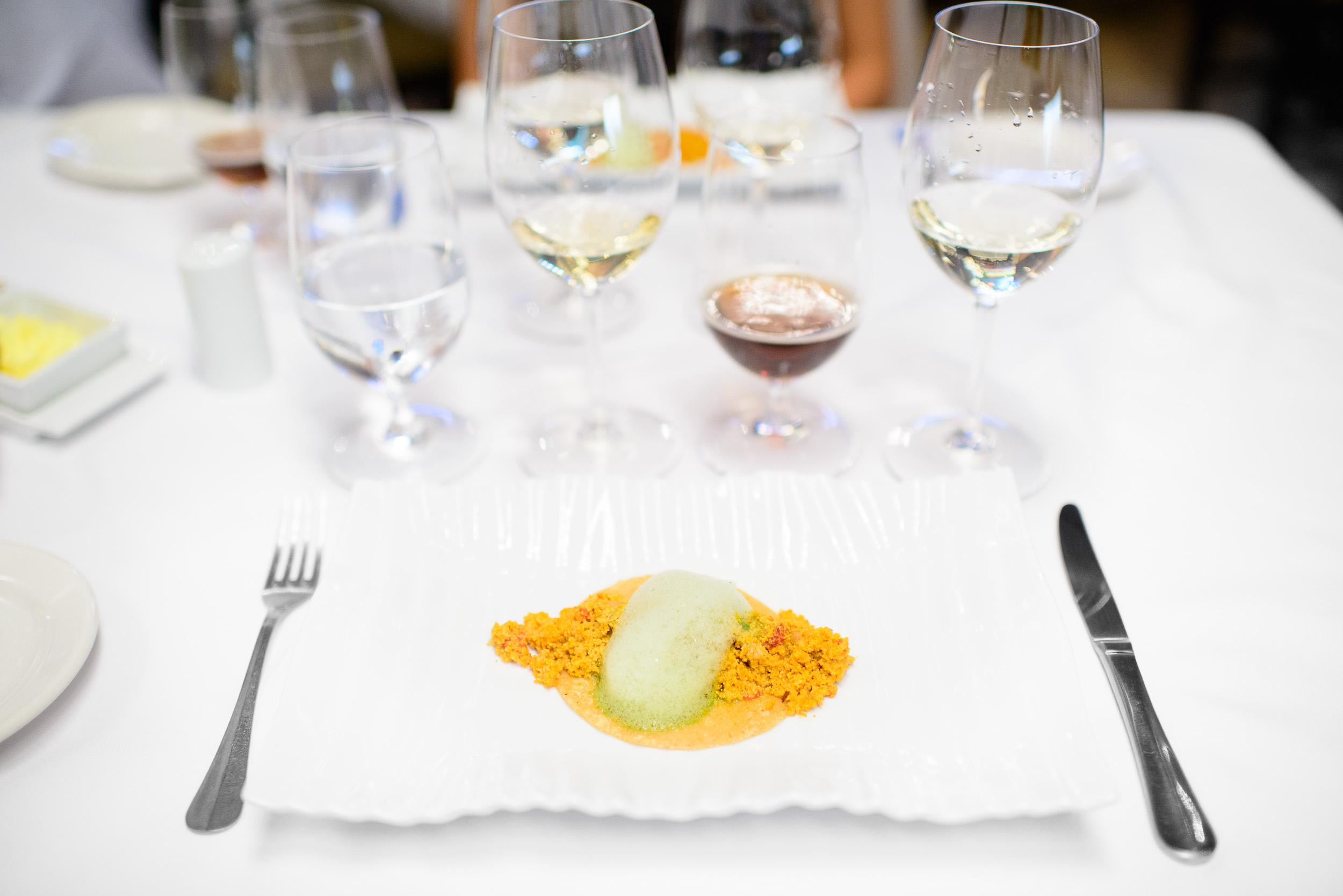 """5th Course: Tacos de """"caviar"""" mexiquense - hueva de carpa guisad"""