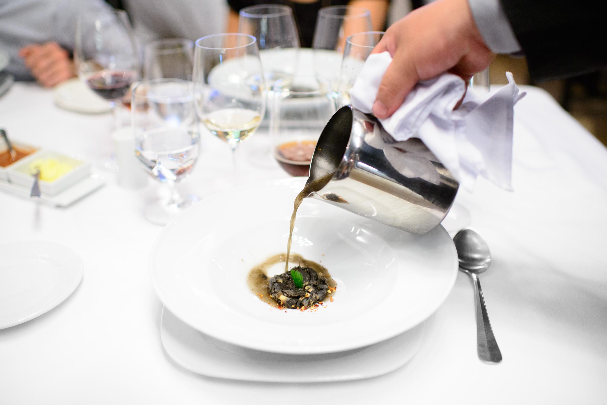 6th Course: Sopa de huitlacoche con granos de huitlacoche saltea