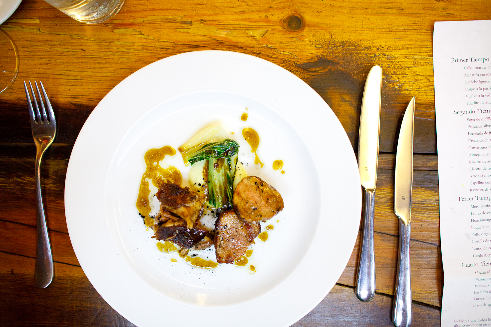 Iberico pork loin with chayote purée and bok choy