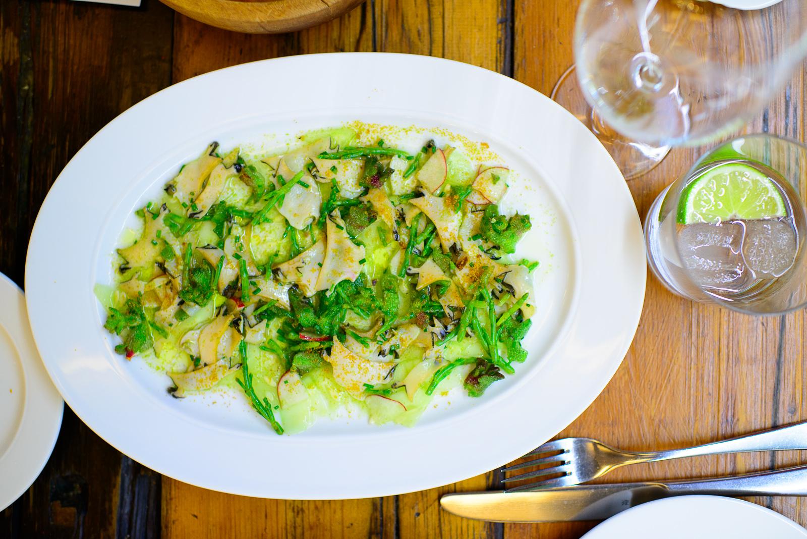 Tiradito de abulón fresco con pepino, limón, y salicornia (Sli