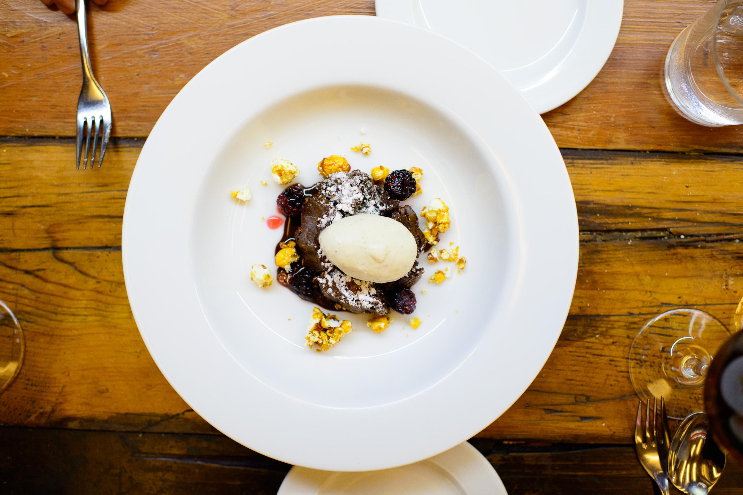 "9th Course: Chocolate, ""cracker jacks,"" vanilla ice cream"