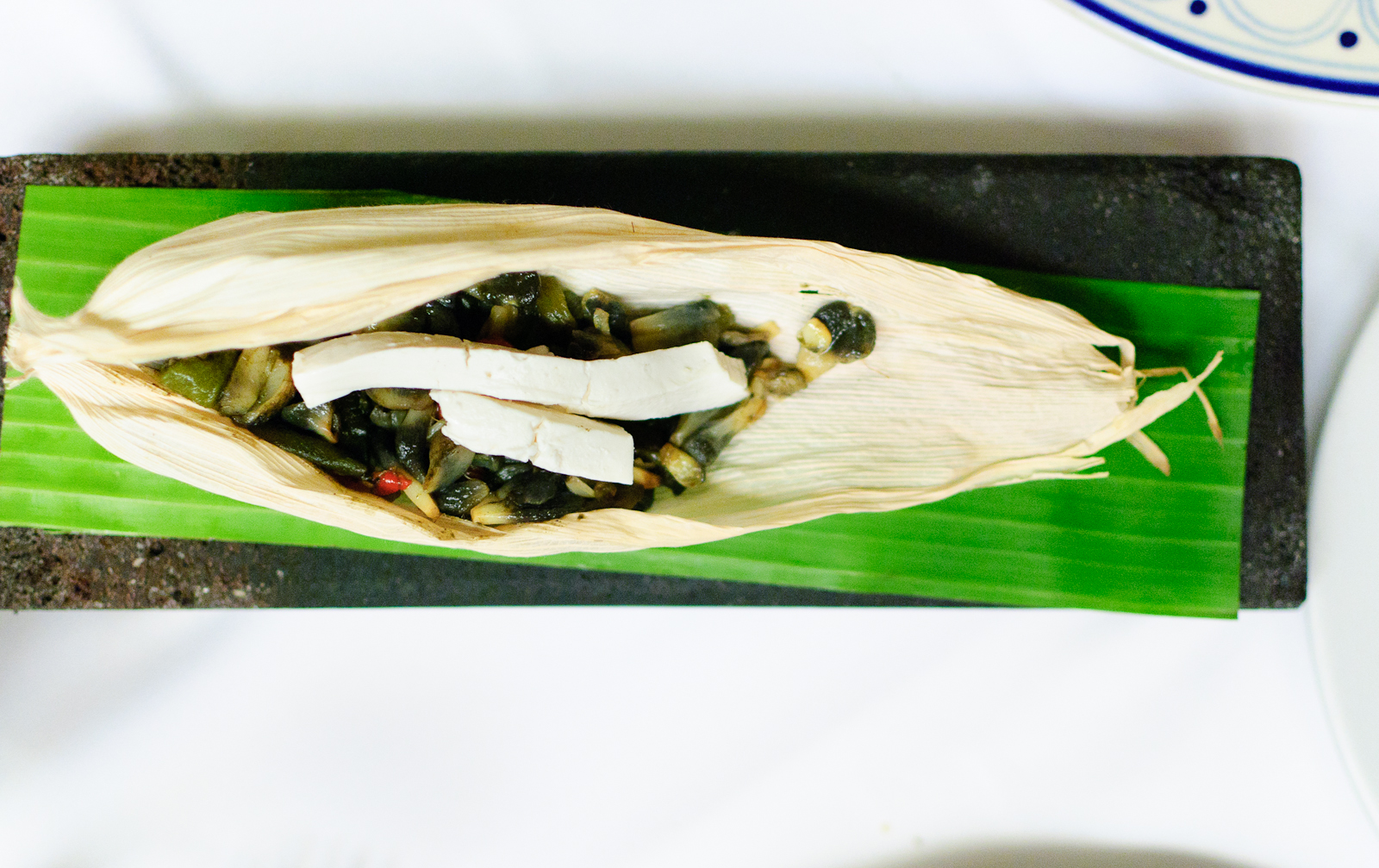 Huitlacoche con rajas poblanas y queso fresco (corn smut with poblano peppers and local cheese)