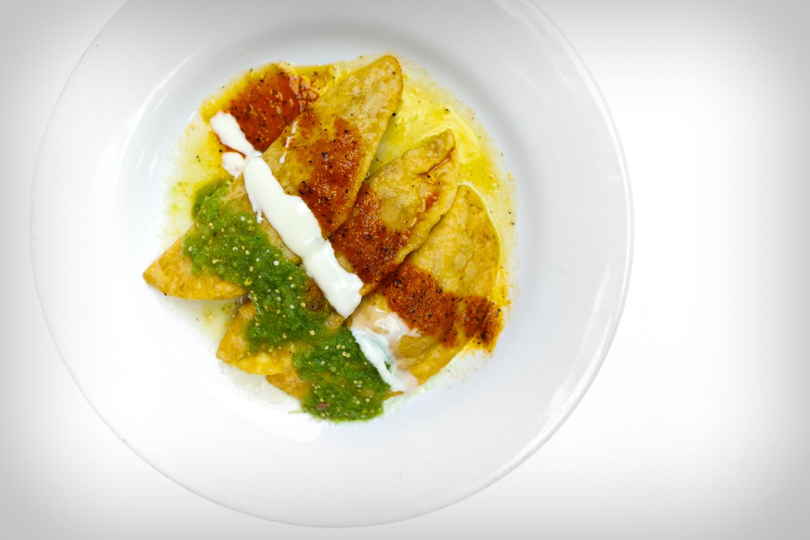 """Los molotes de tinga, papa, y queso (Puebla-style """"molotes"""" of stewed pork, potato, and local cheese)"""