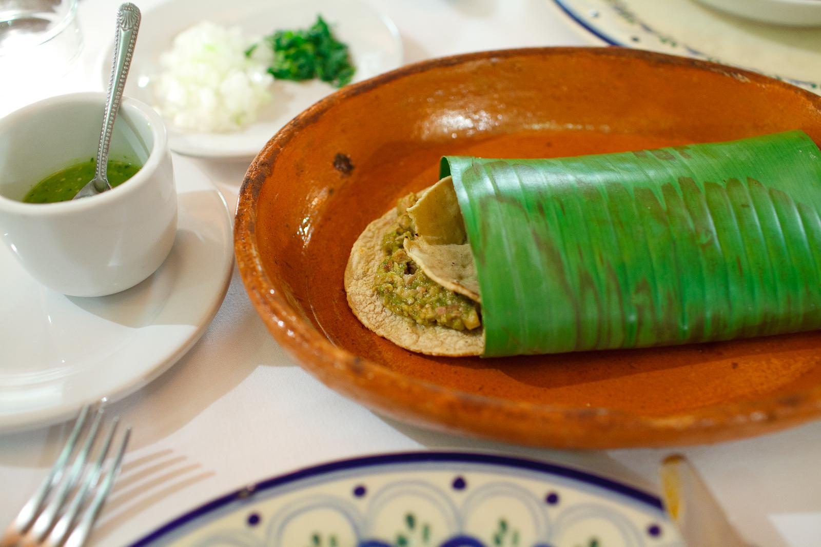 Tacos de chicharrón prensado en salsa verde con calabacitas y tortillas hechas a mano (Pressed pork skin tacos, green salsa, squash, and hand-made tortillas) ($95 MXP).jpg