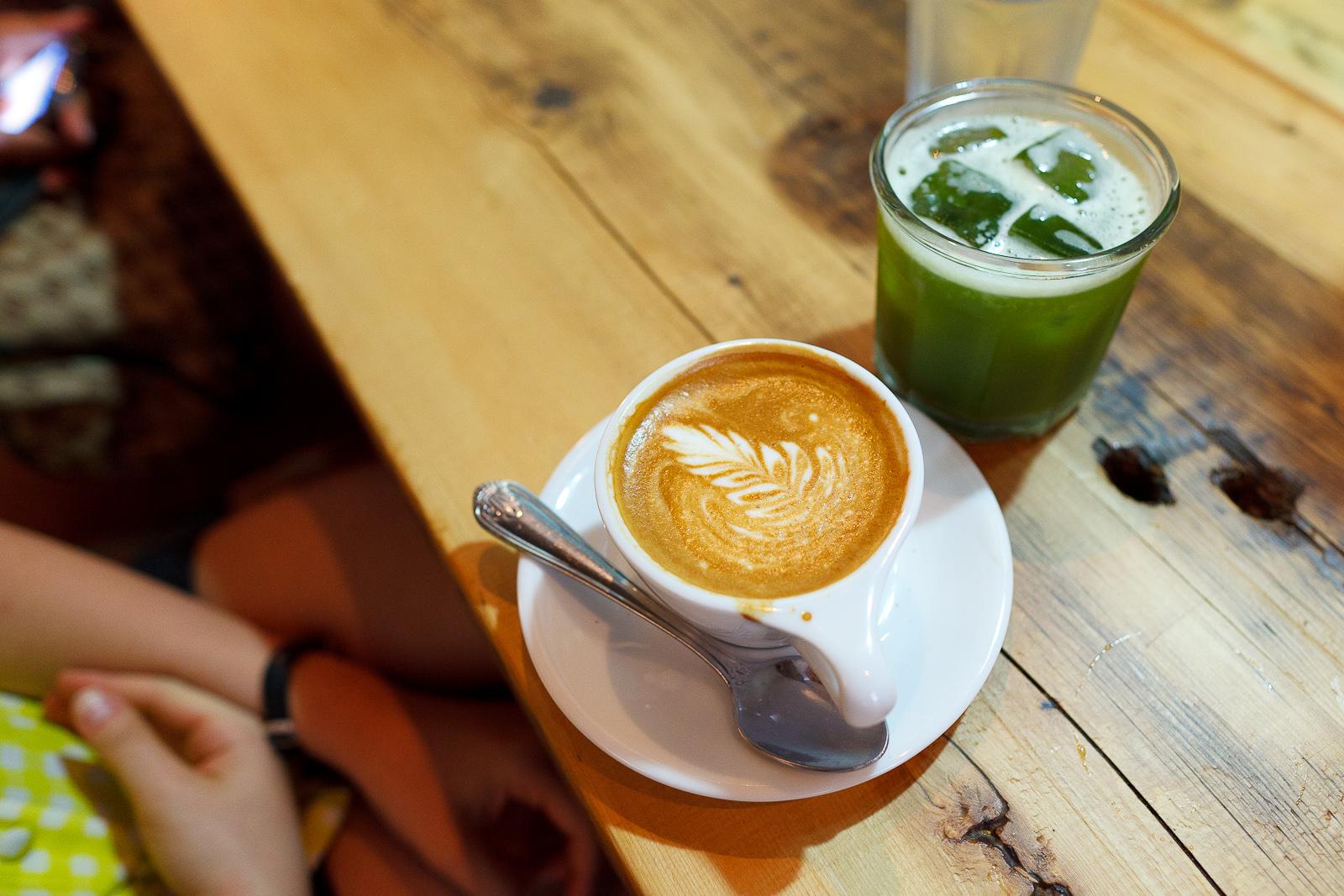 Cappuccino ($3.50) and Iced Matcha Green Tea ($3.50)