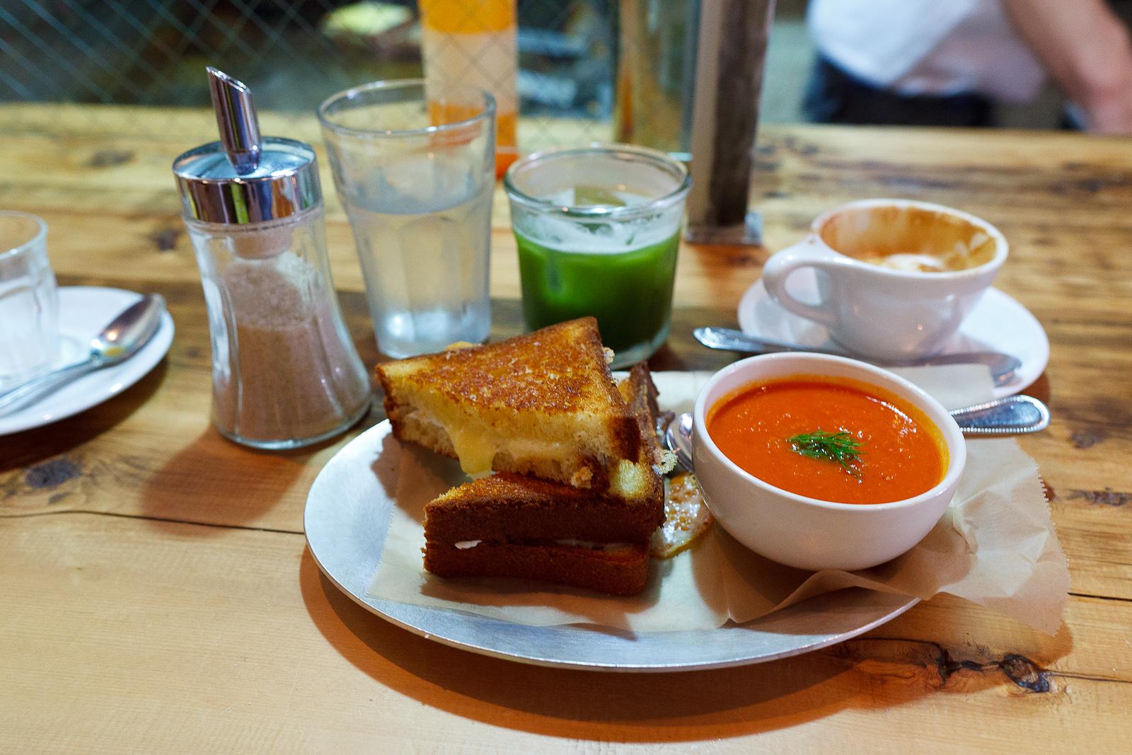 Cheddar and Mozarella, brioche with tomato soup ($8)
