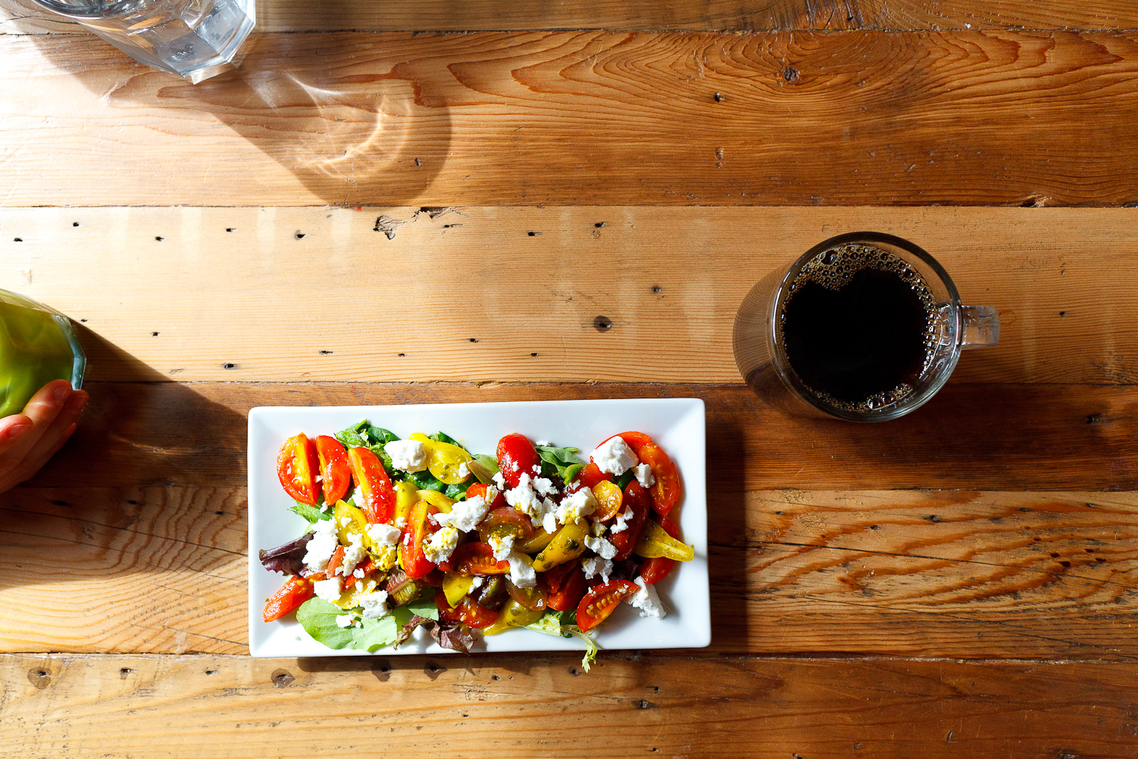 Summer tomato salad with Hellgate Farm tomatoes, V60 Brazilian Daterra decaffeinated pour over coffee