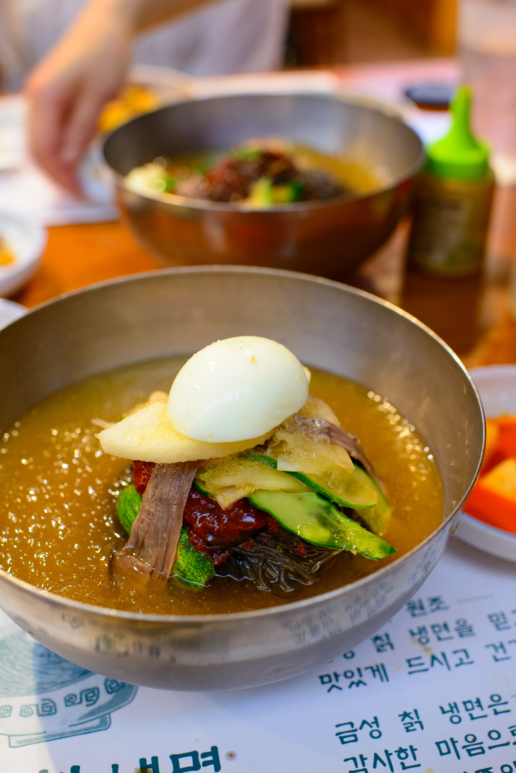 Mul naeng myun - cold buckwheat noodles in beef broth ($10.99)