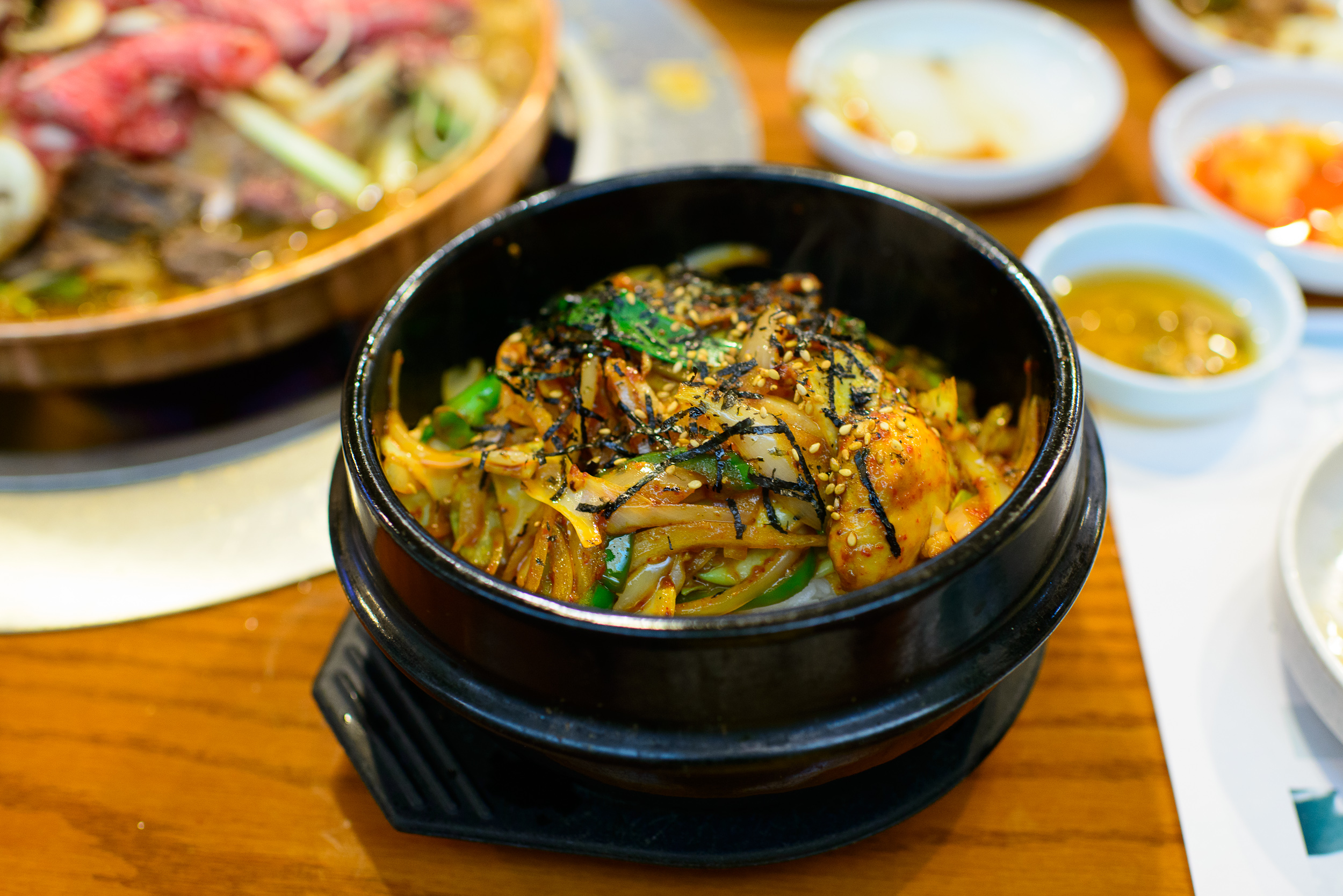Jeyuk dupbap - pan-fried pork and vegetables with hot and spicy