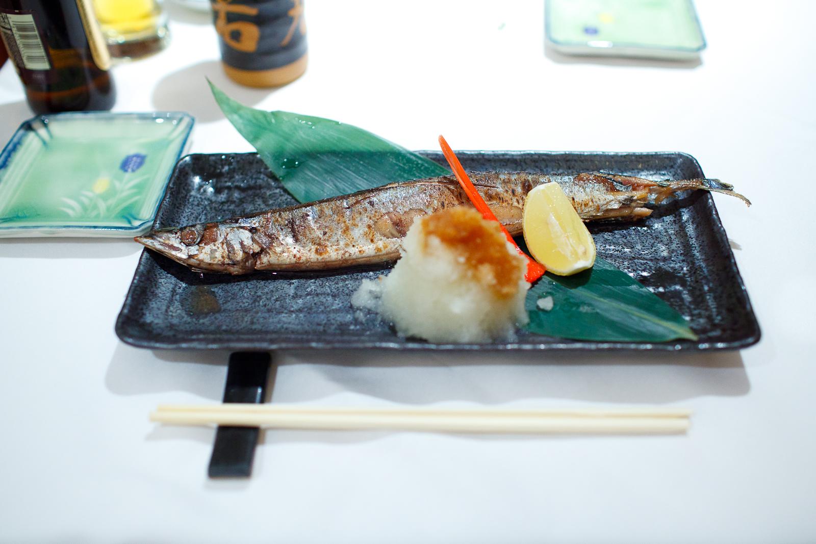 Soy sauce marinated white fish, daikon radish