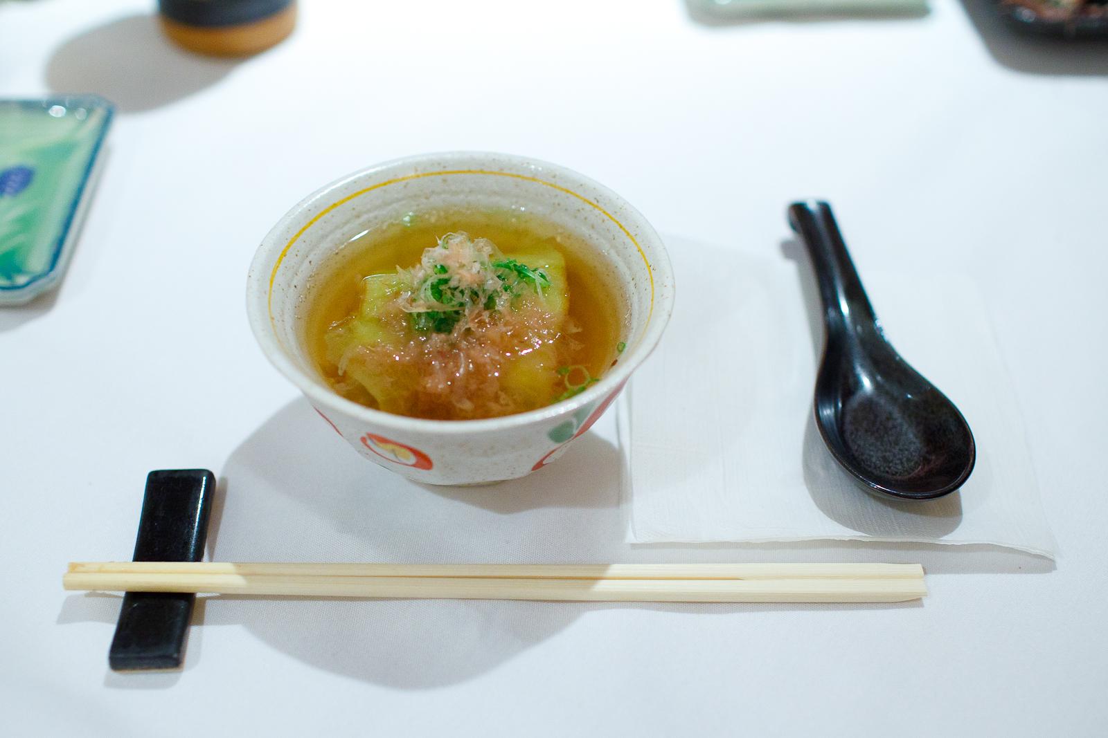 Squash soup with bonito flakes