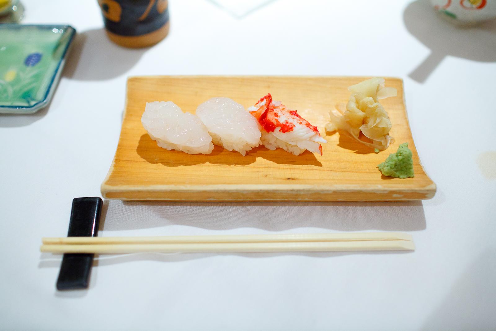 White shrimp and crab sushi