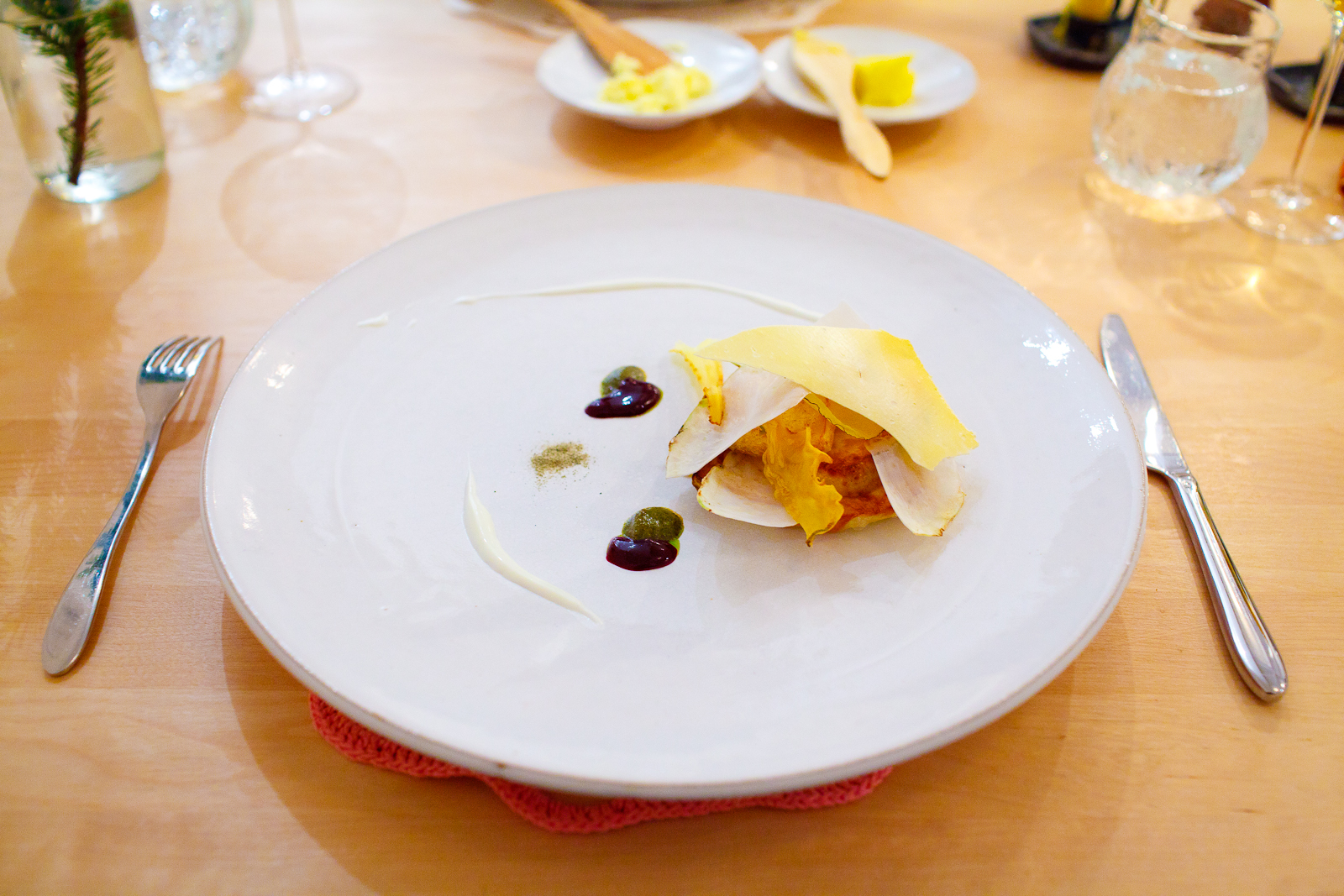 3rd Course: Roasted celariac with baked and fried dried root vegetables, yogurt flavored with black current and dried algae.