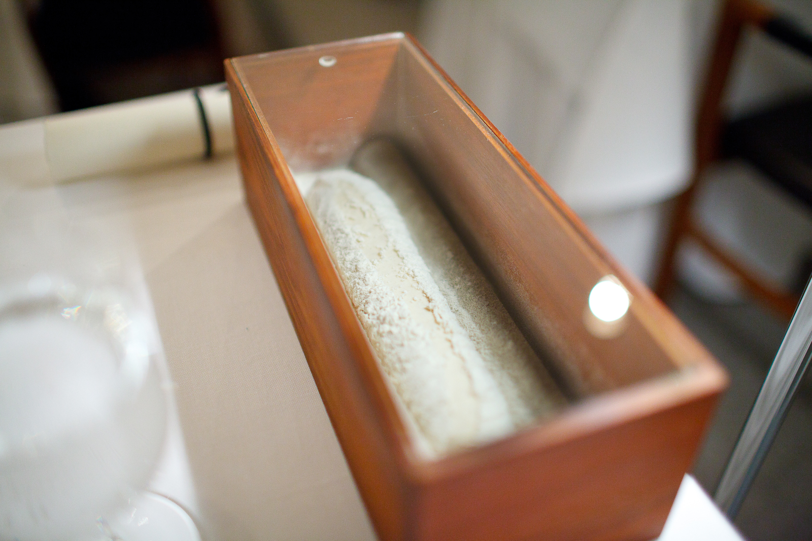 Presentation of the table's bread, rising table-side, to be baked over open fire with just-churned butter.jpg