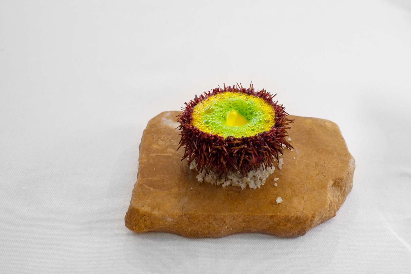 1st Course: Sea urchin from Norway served with carrot velouté, parsley soup, sediment of coldpressed rape seed oil and saffron cream