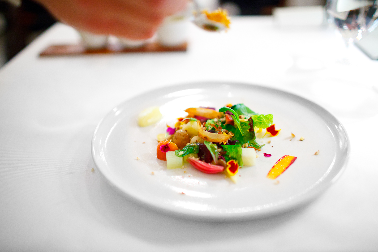 """2nd Course: Vegetables from the garden """"satio tempestas"""" with melted herbs, fresh nuts, and crispy fish scales"""
