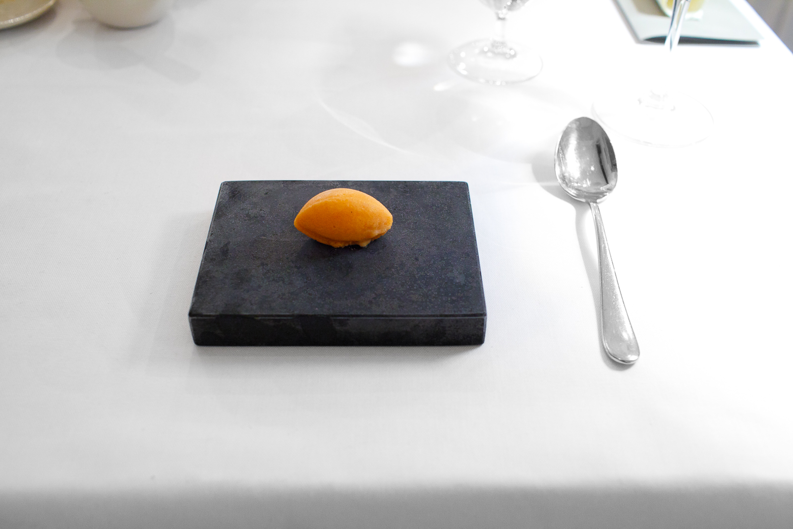 th Course: Frozen rowan berries and apple, flavored with black tea