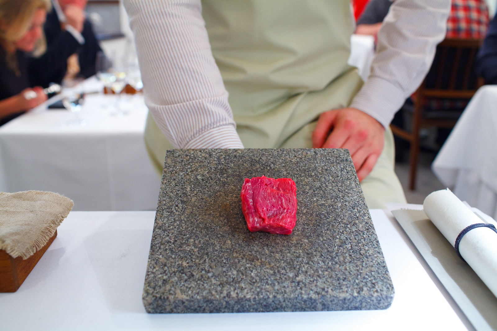 6th Course: Presentation of beef from a Swedish milk cow in three servings.