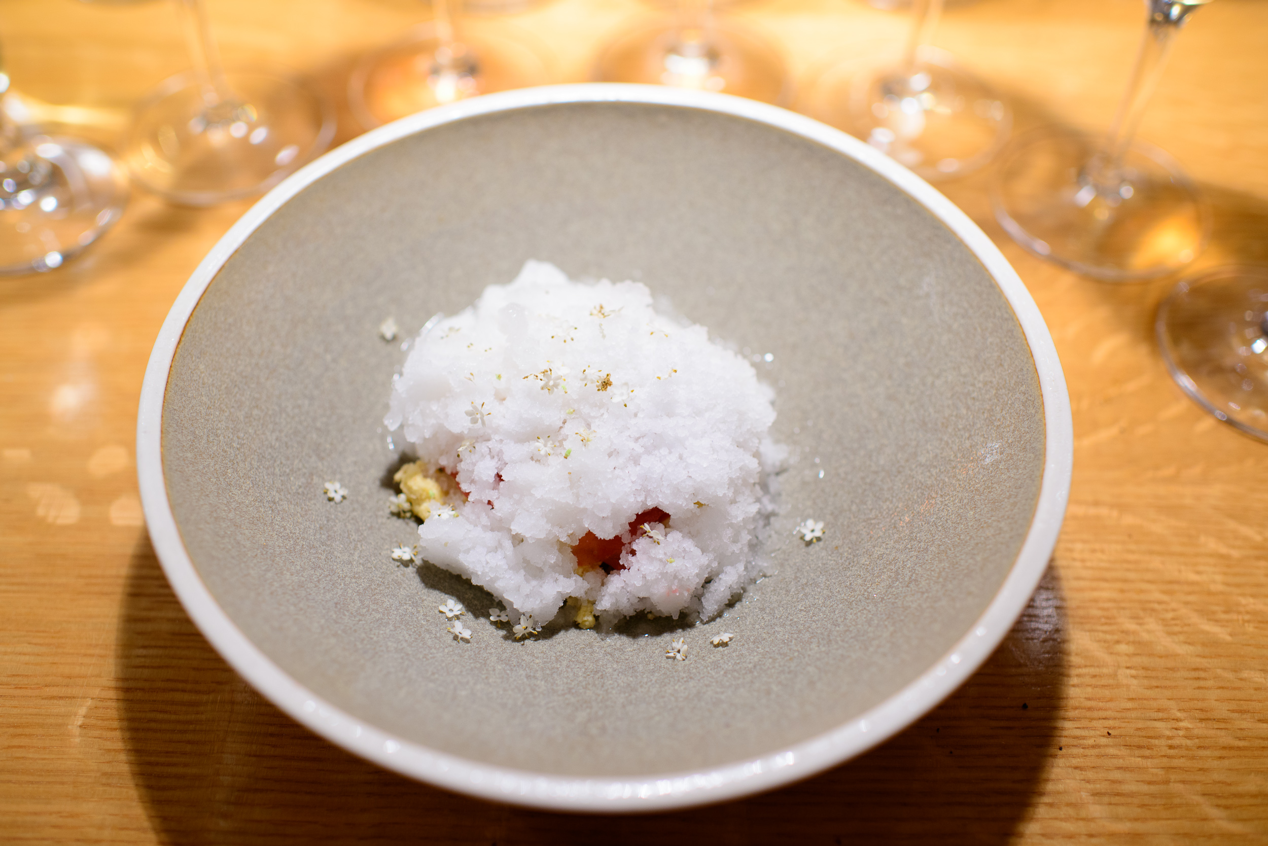 8th Course: Elderflower and rhubarb