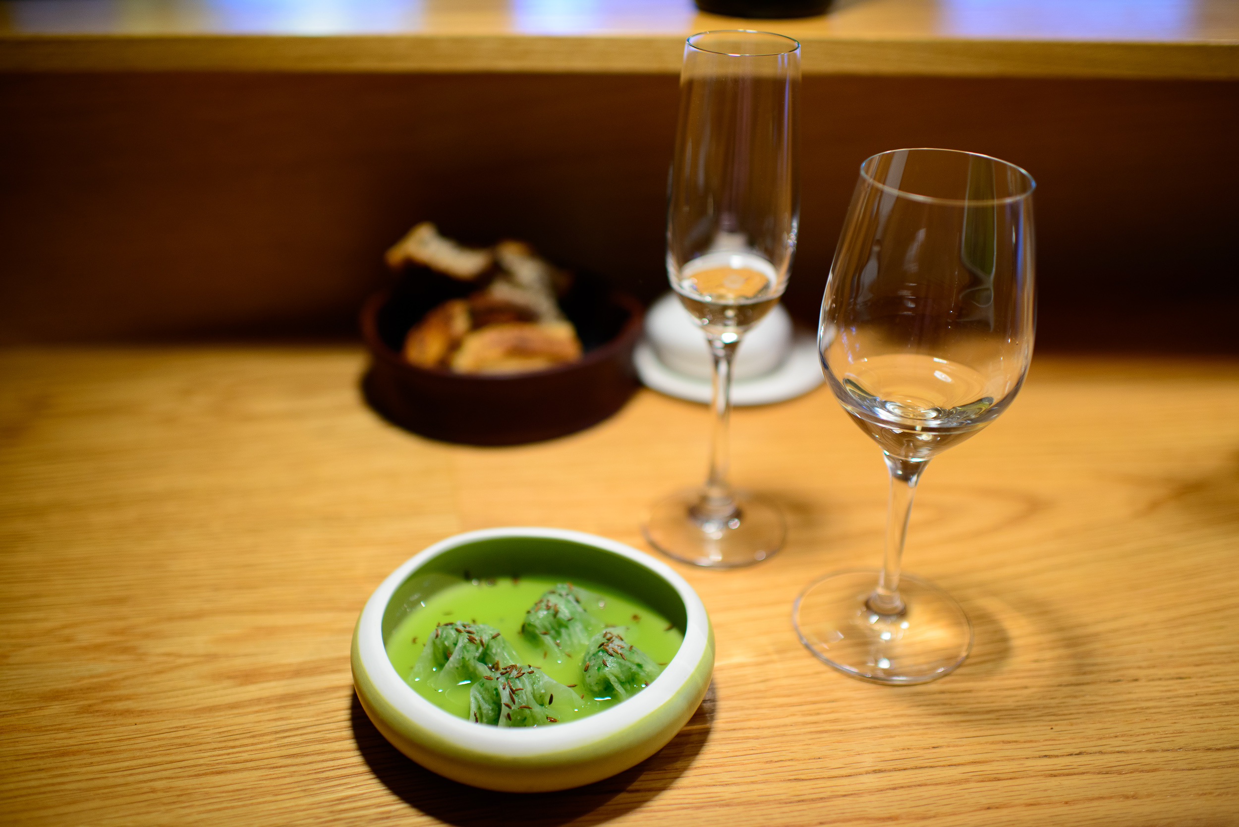 2nd Course: Kohlrabi ravioli, cucumber, toasted caraway seeds, b