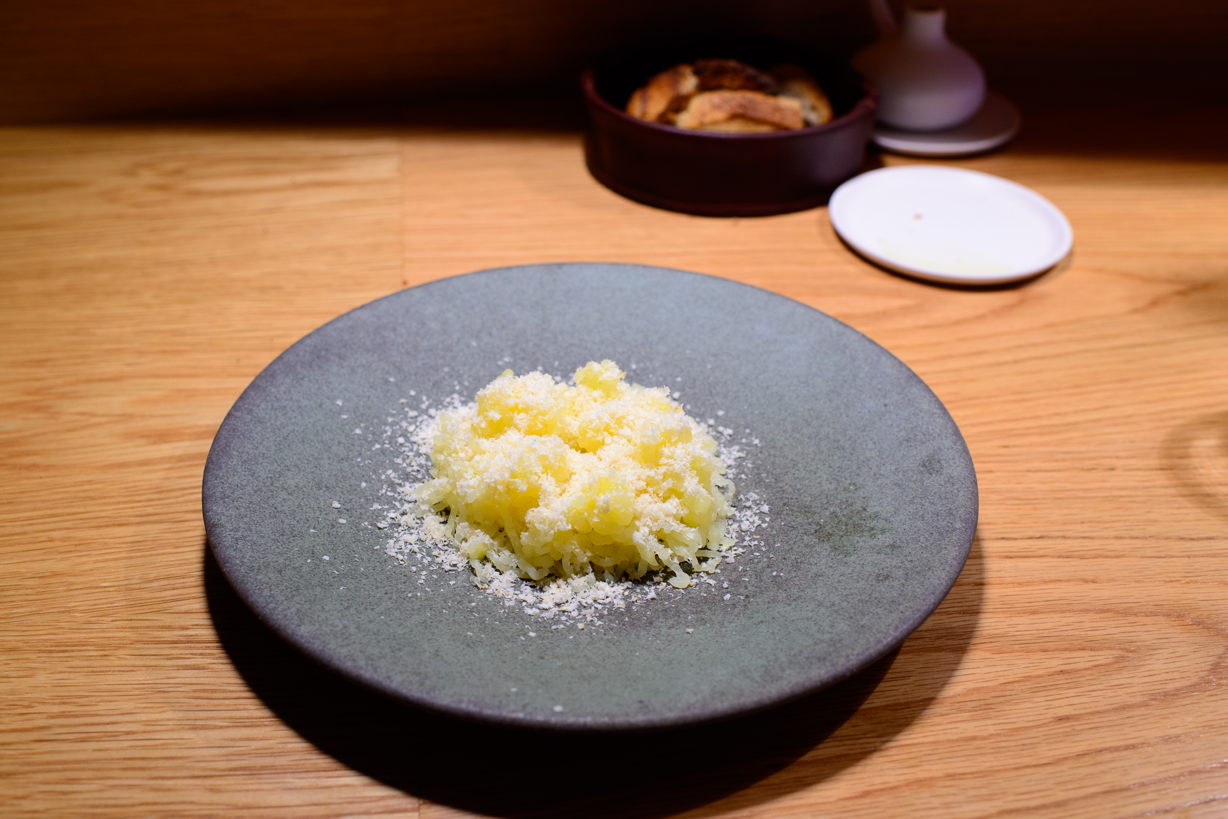 4th Course: Potato, Spring Onion, Hazelnut, Bergamot