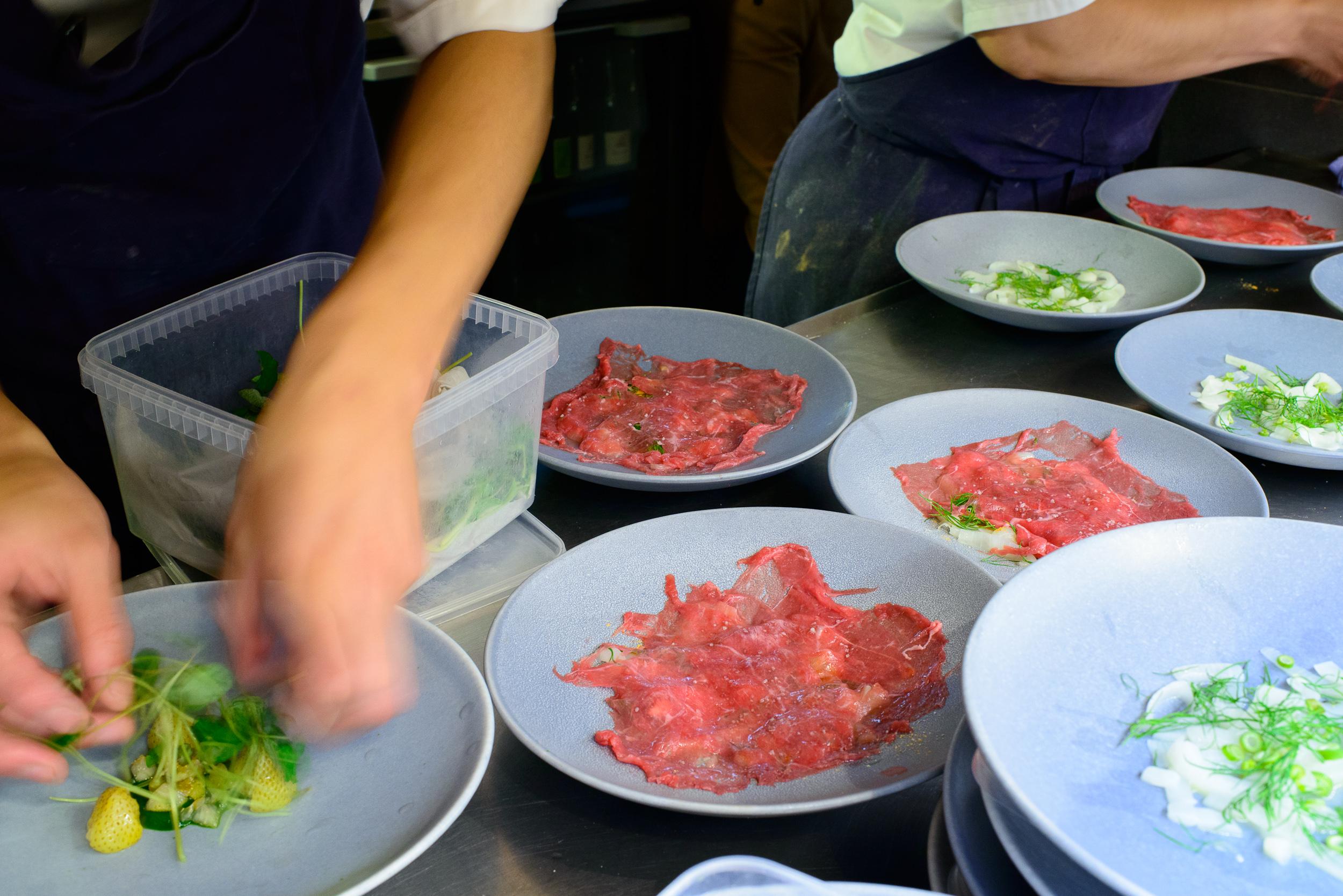 Plating lamb from havervadgård, shrimps, and dill