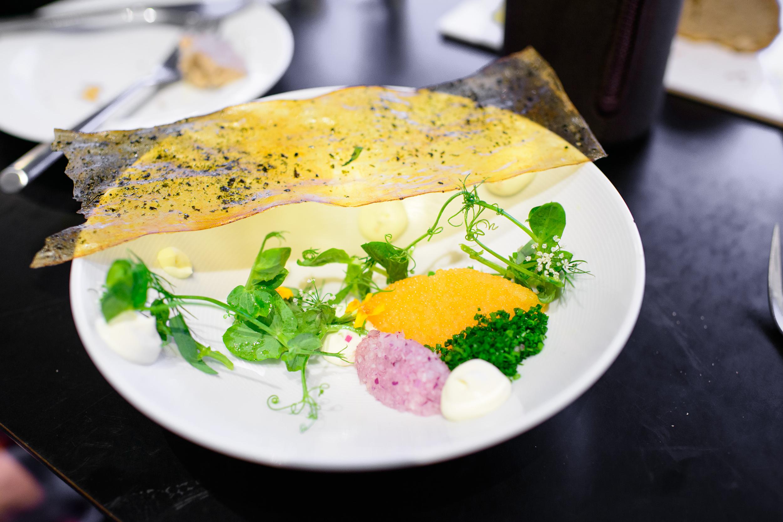 Trout roe, pea shoots, crispy potato with nori