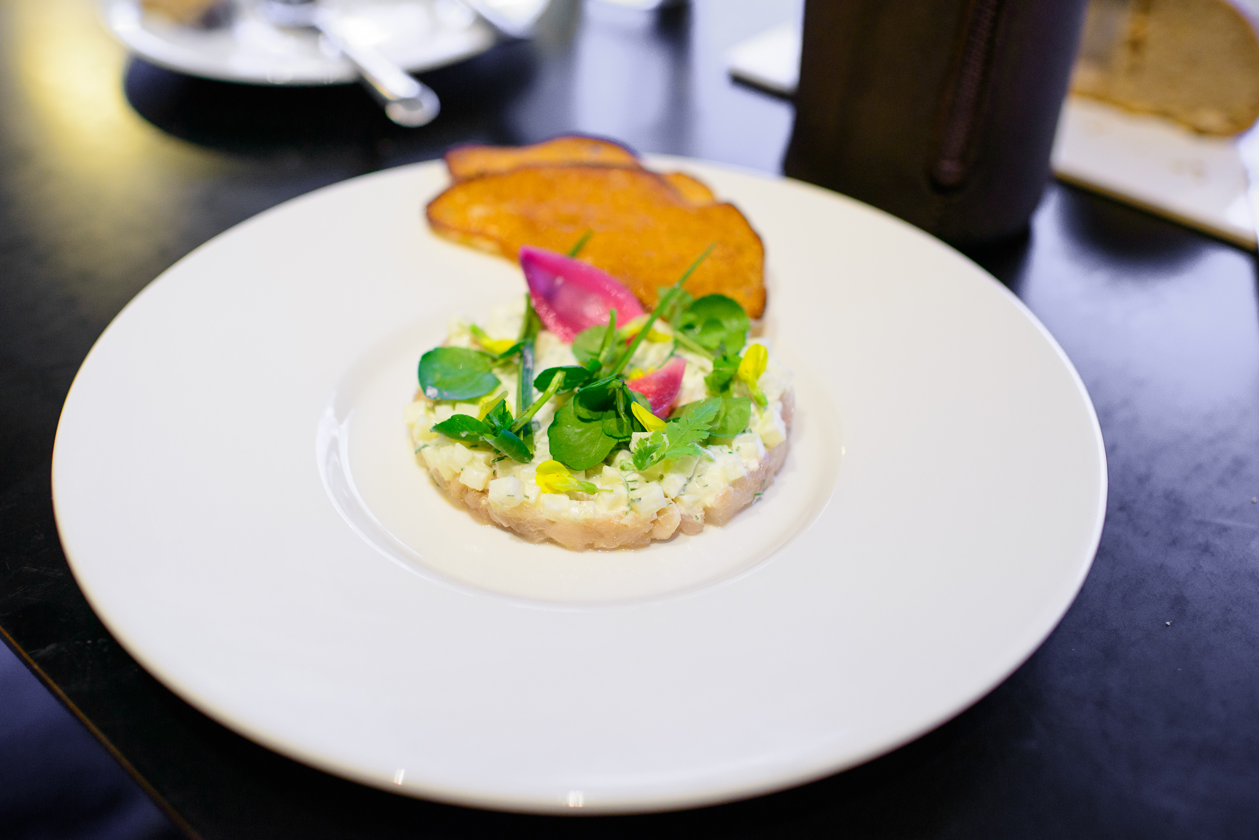 Mackerel from Norway, tartar, pickled potatoes, water cress, spr
