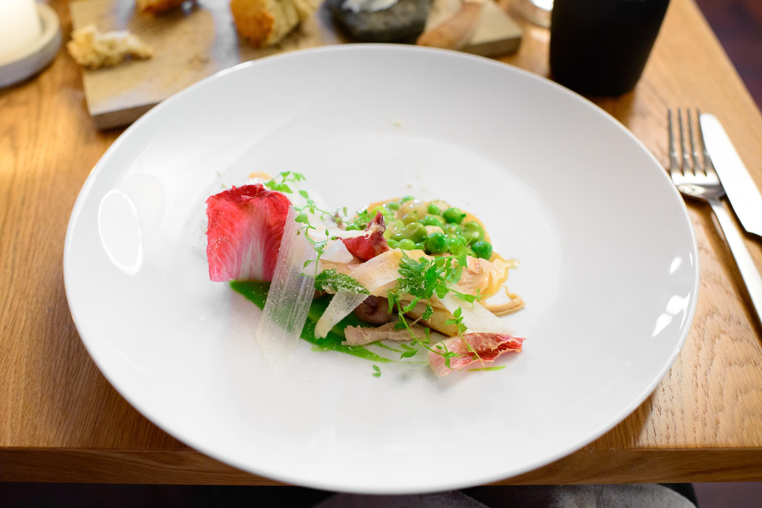 5th Course: Bornholm cockerel, white asparagus, mint, peas