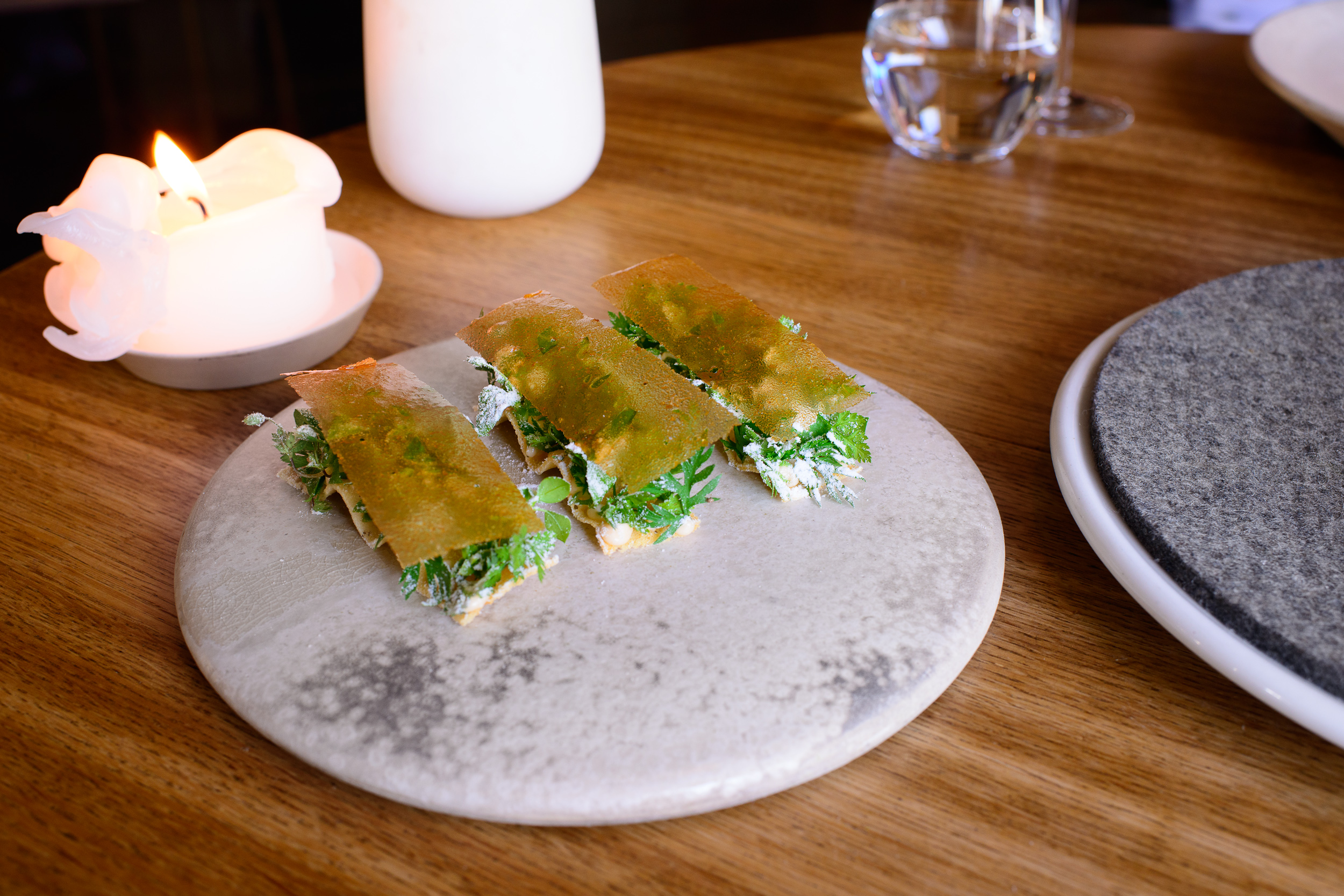 15th Course: Herb toast and smoked cod roe